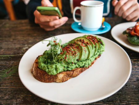 Avocado on toast in Cornwall