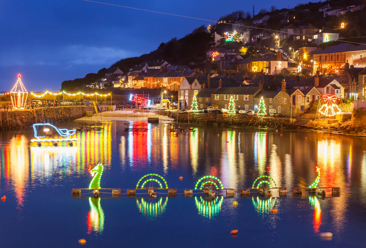 Mousehole harbour Christmas lights display