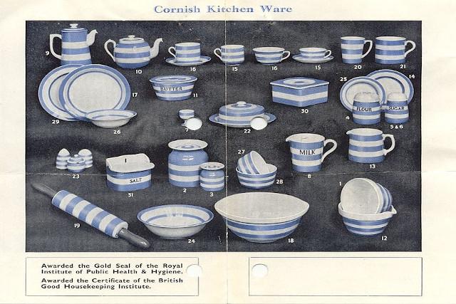 Cornishware leaflet showing items available