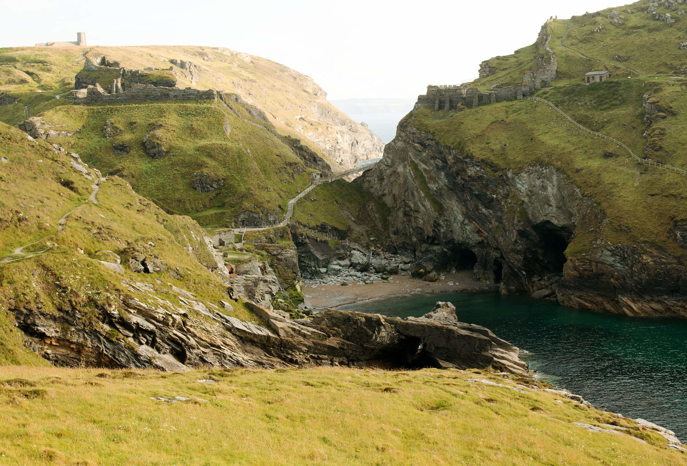 View of the ruins of Tintagel Castle