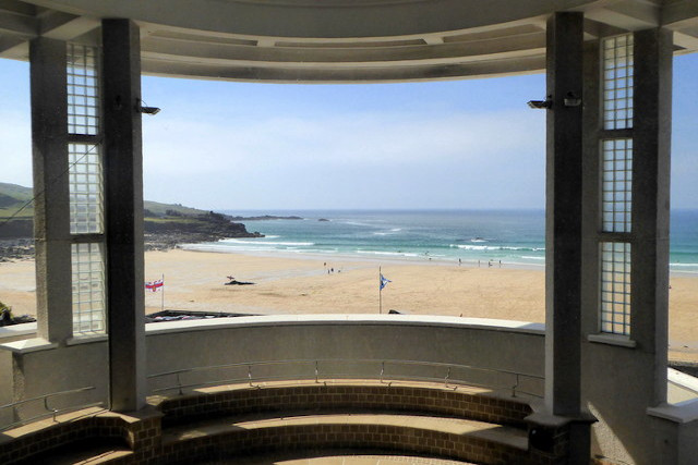 View of Porthmeor Beach from Tate St Ives